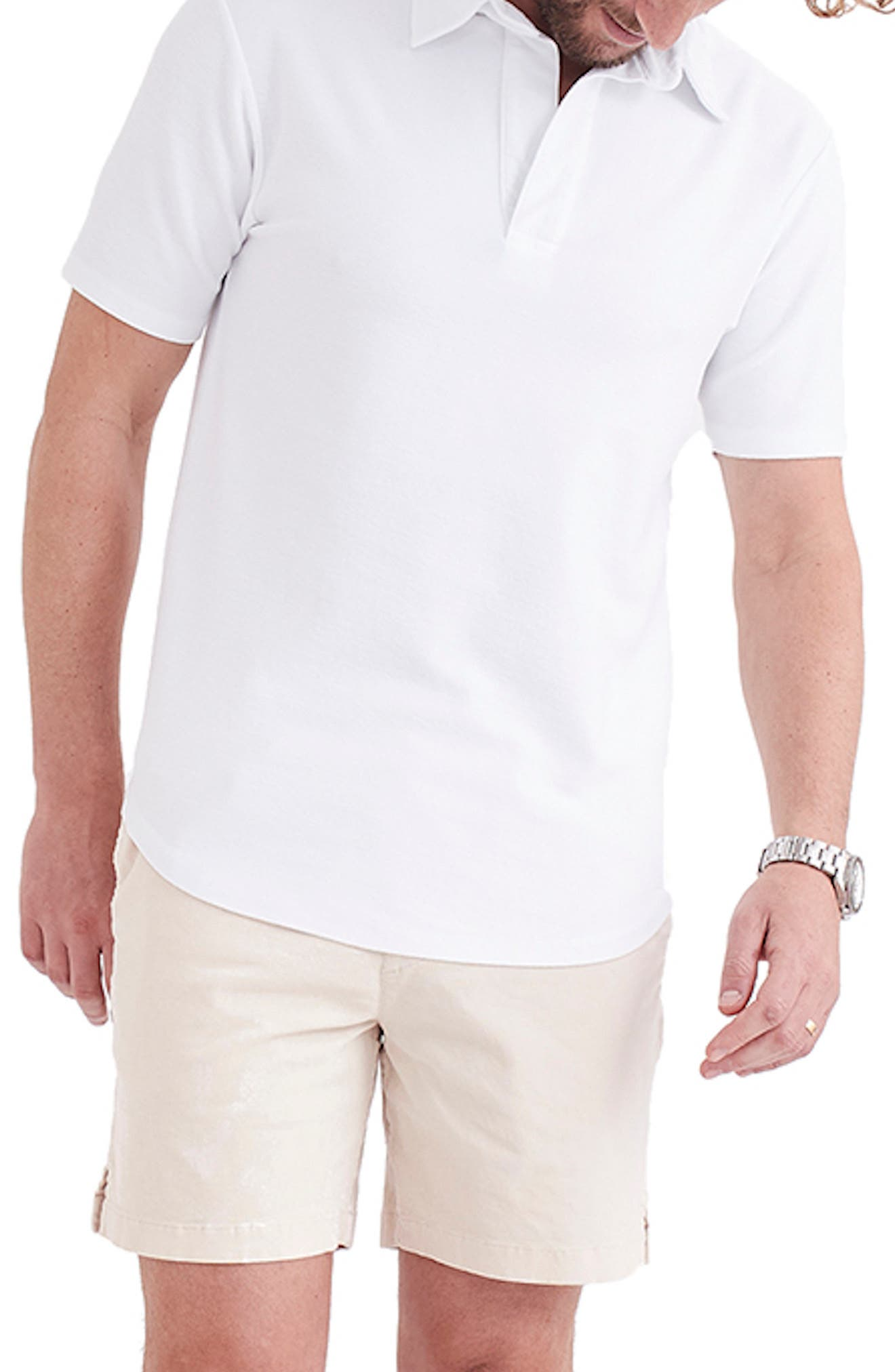 1930s Men's Fashion Guide- What Did Men Wear? Goodlife Sun Faded Reverso Curve Hem Polo Size XXL - White at Nordstrom Rack $49.97 AT vintagedancer.com