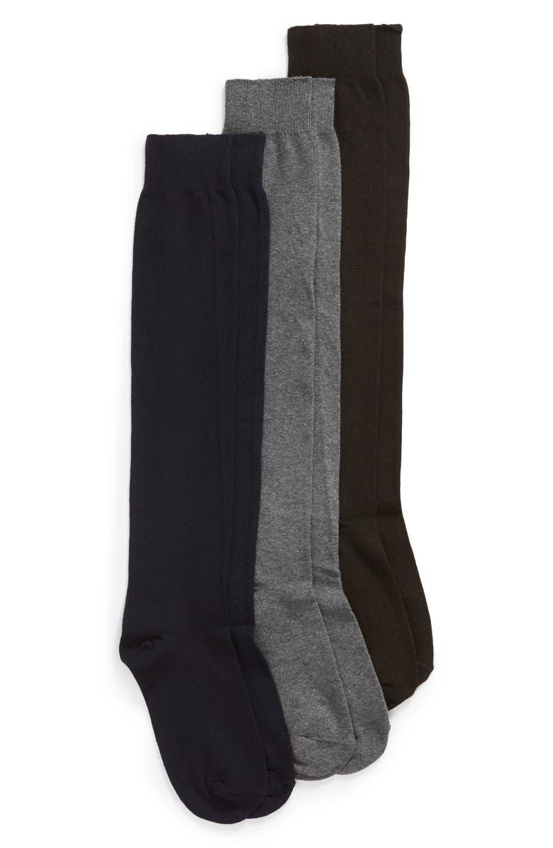 HUE 3-Pack Flat Knit Knee High Socks, Main, color, G HEATHER