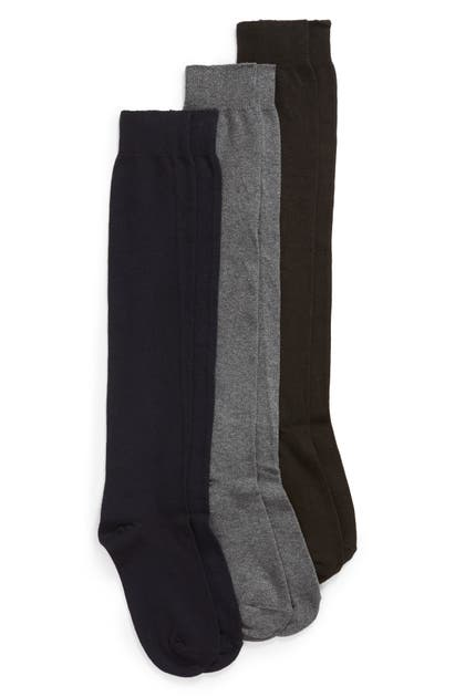 Hue Knits 3-PACK FLAT KNIT KNEE HIGH SOCKS