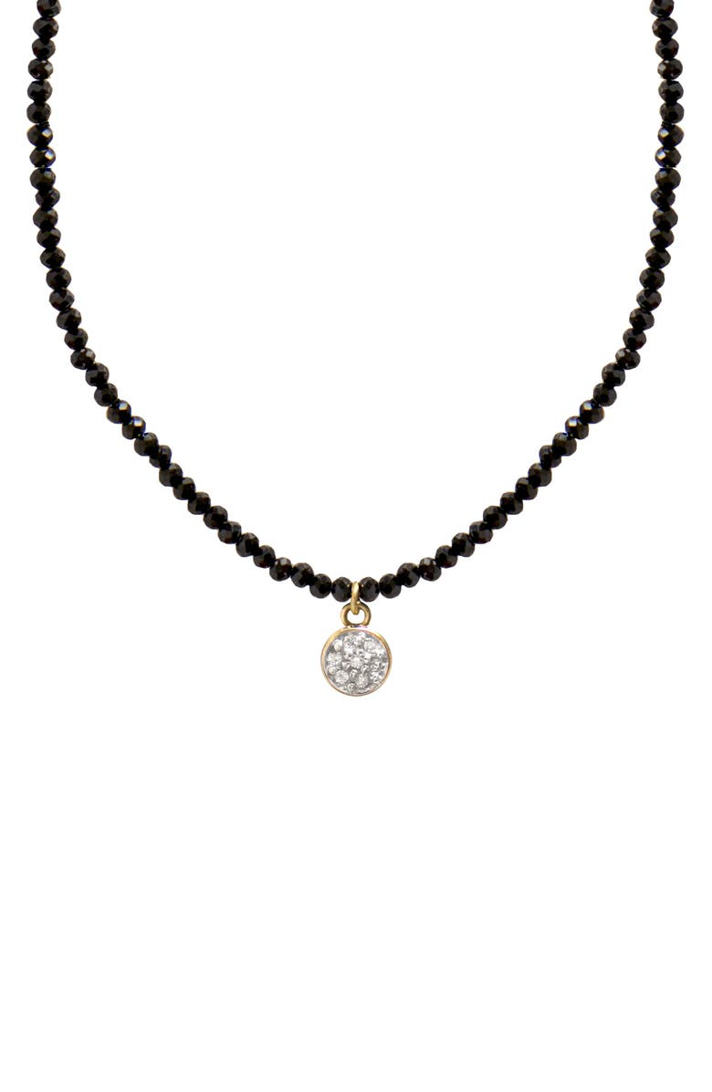 JANE BASCH DESIGNS Jane Basch Diamond Circle Pendant Necklace, Main, color, BLACK ONYX