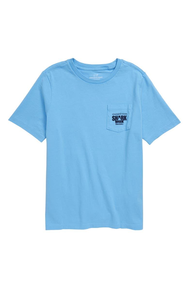 VINEYARD VINES x Shark Week<sup>™</sup> Camo Shark Whale Pocket T-Shirt, Main, color, OCEAN BREEZE