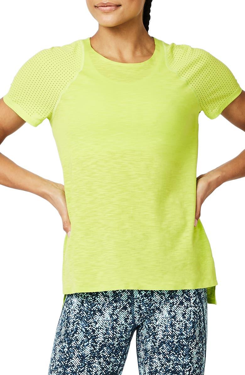 SWEATY BETTY Breeze Short Sleeve Run Tee, Main, color, LIME PUNCH GREEN