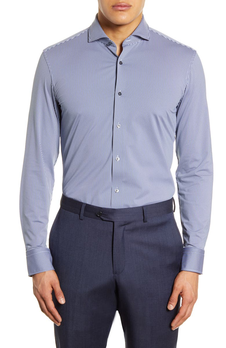 BOSS Slim Fit Stretch Stripe Dress Shirt, Main, color, NAVY