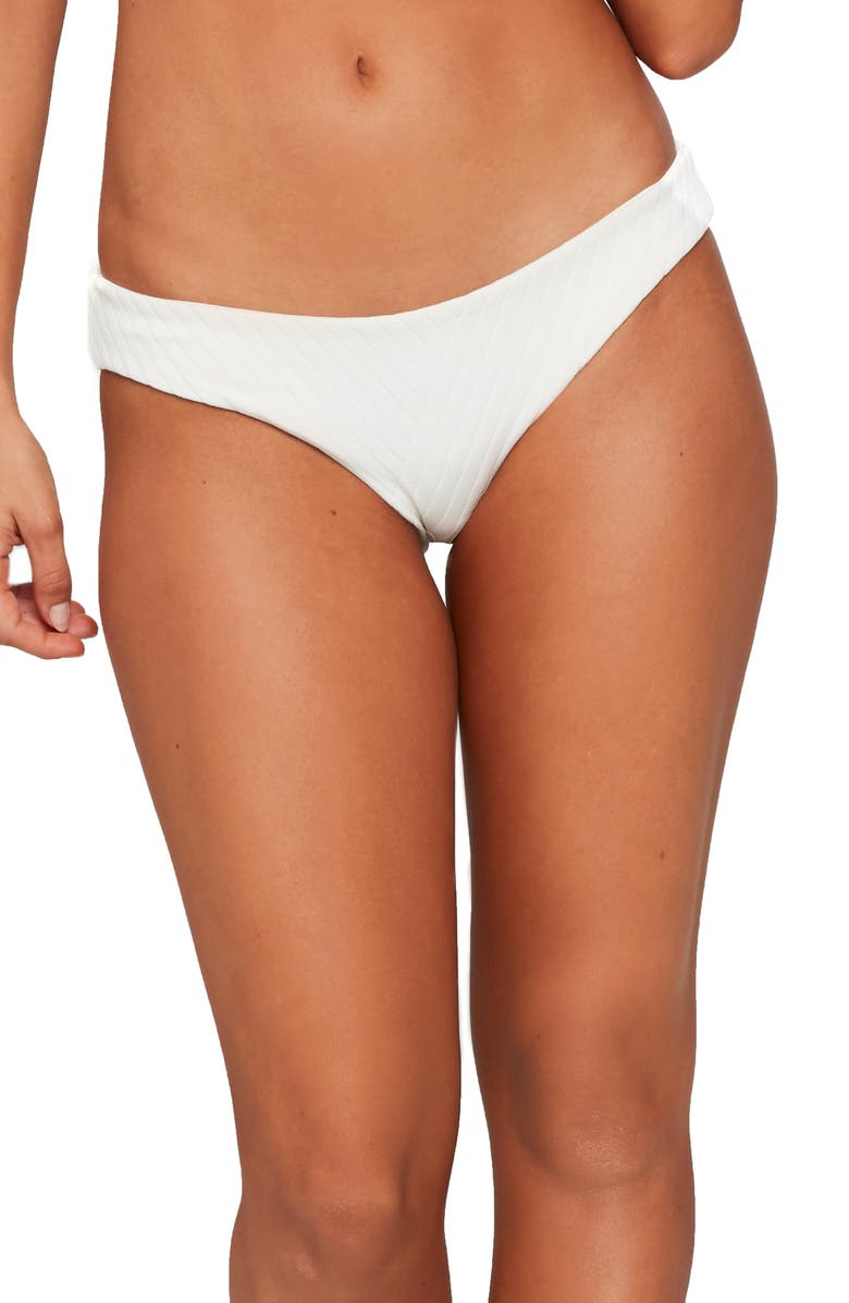 L SPACE Sandy Textured Bikini Bottoms, Main, color, CREAM
