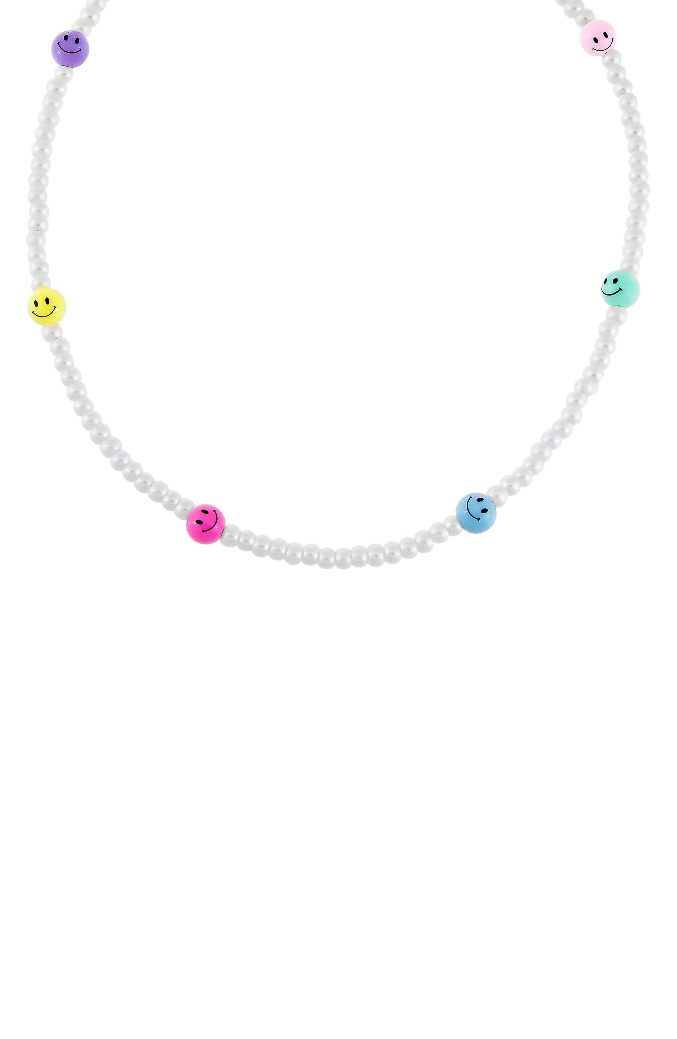 Women's Adina's Jewels Smiley Face & Imitation Pearl Necklace