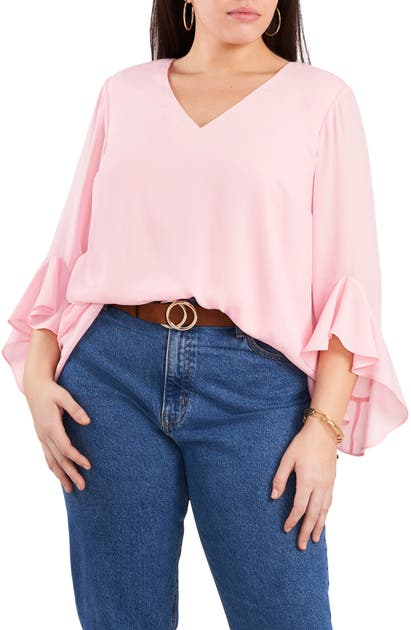Vince Camuto FLUTTER SLEEVE CROSSOVER GEORGETTE TUNIC TOP