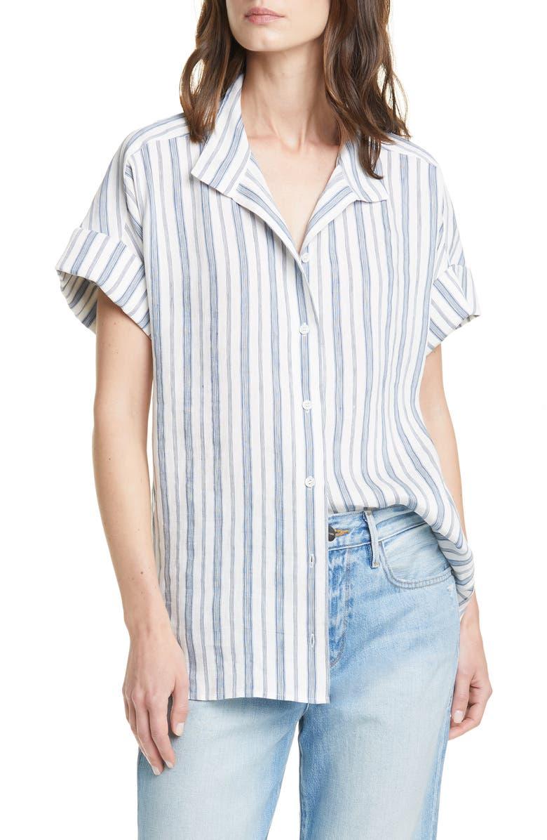 FRAME Stripe Clean Collar Linen Blend Shirt, Main, color, 400