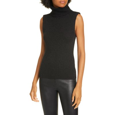 Alice + Olivia Darcey Metallic Wool Blend Turtleneck Sweater Tank, Black