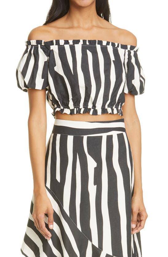 Milly NATALIA ABSTRACT ZEBRA LINEN BLEND OFF THE SHOULDER TOP