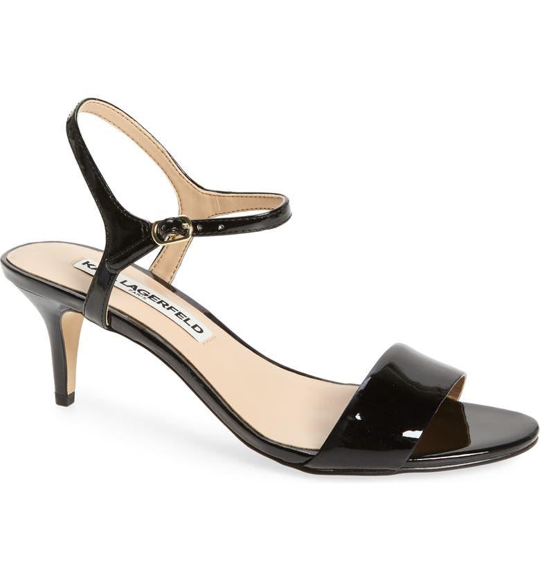 KARL LAGERFELD PARIS Demas Sandal, Main, color, BLACK PATENT LEATHER