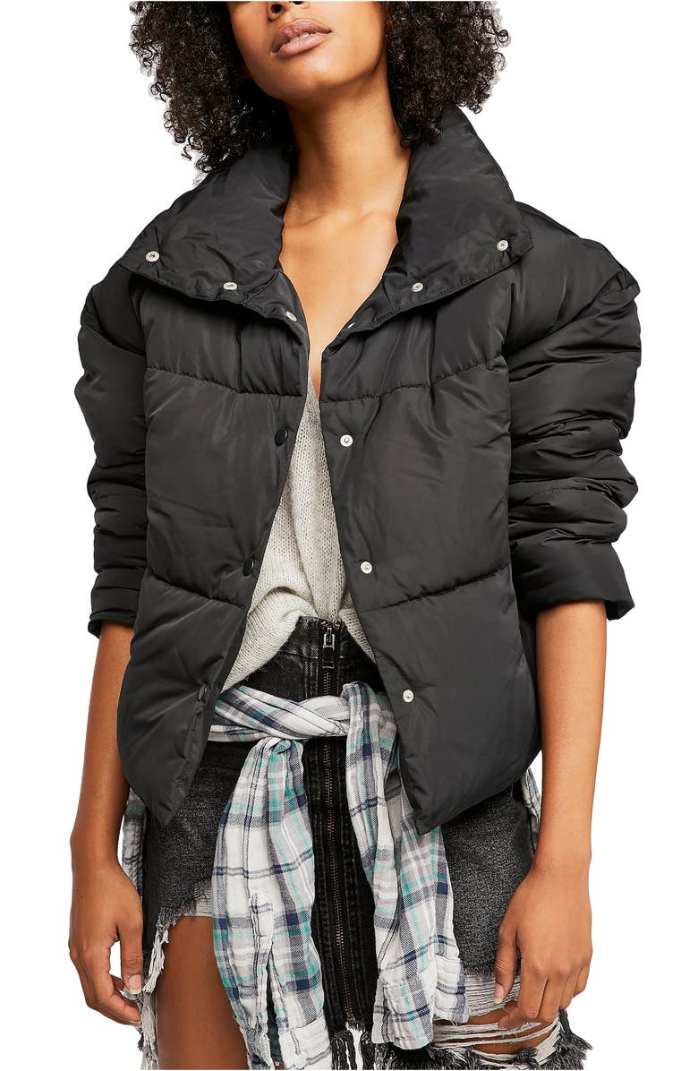 FREE PEOPLE Wing Collar Puffer Coat, Main, color, 001