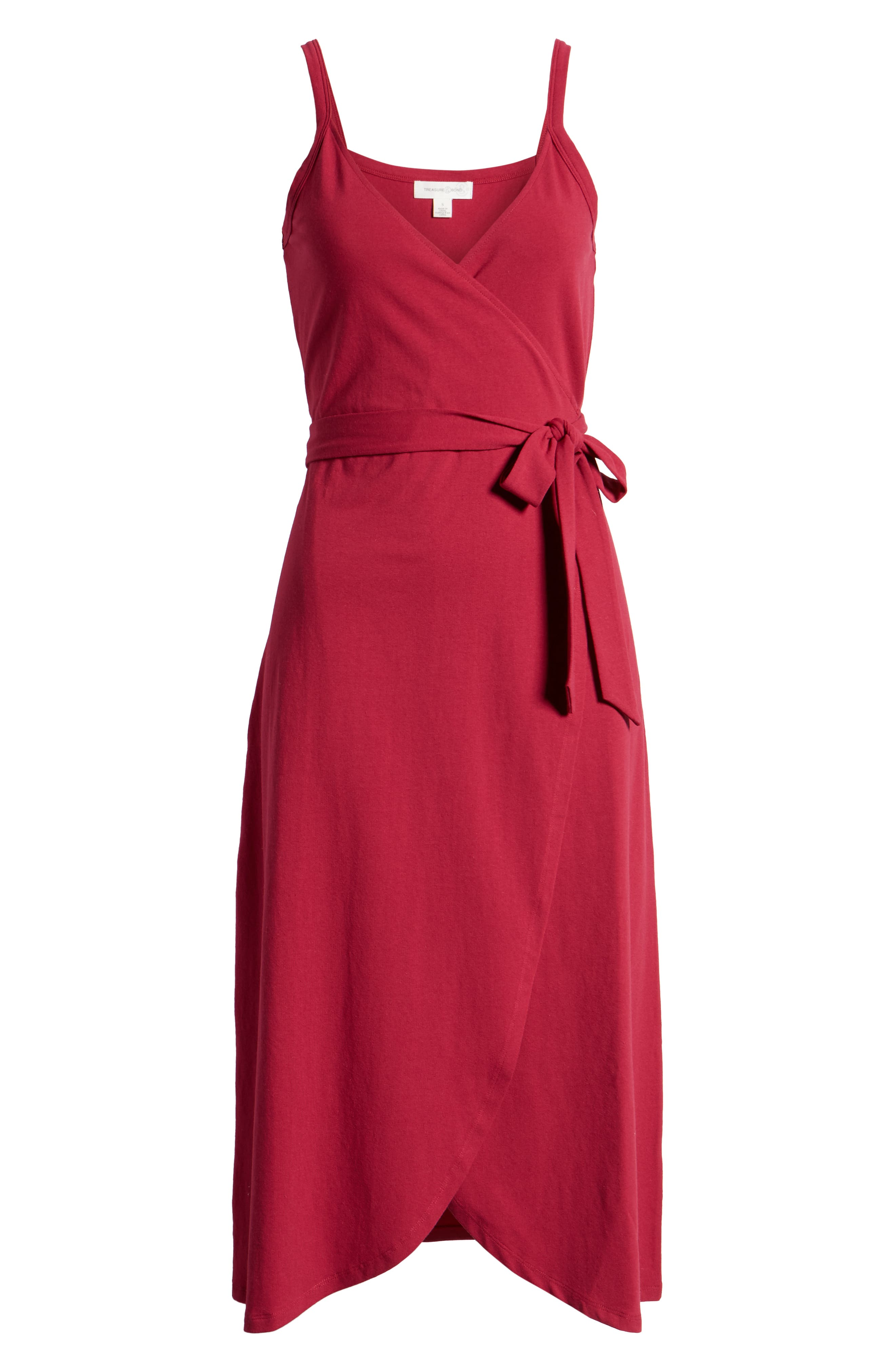 ,                             Knit Wrap Midi Sundress,                             Alternate thumbnail 7, color,                             BURGUNDY BERRY