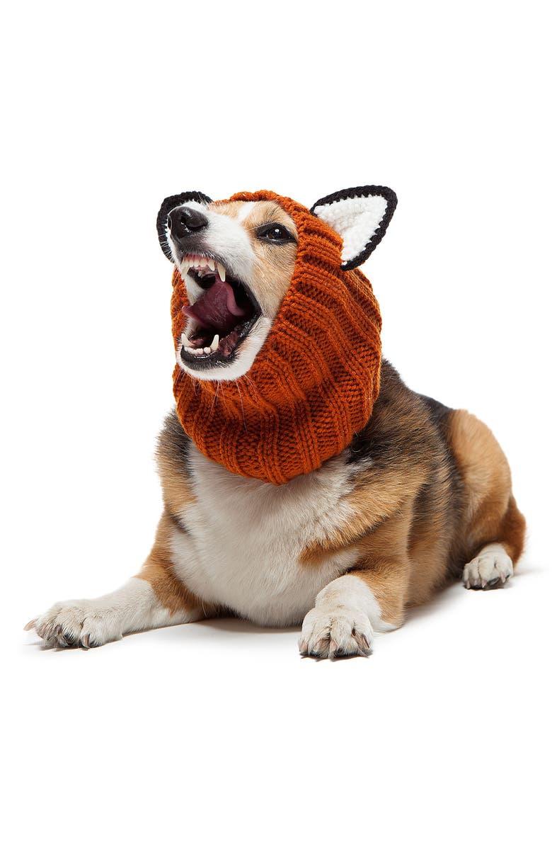 ZOO SNOODS Fox Crochet Dog Snood, Main, color, ORANGE