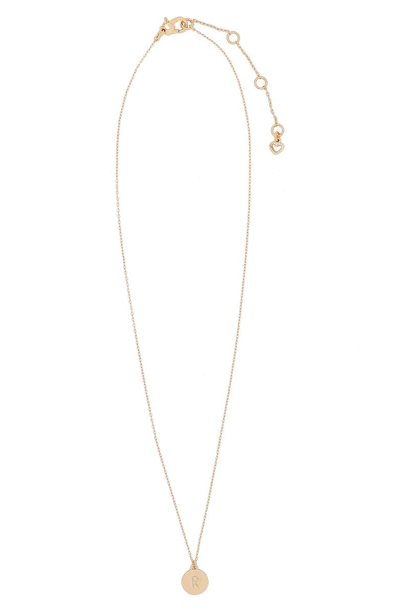 KATE SPADE NEW YORK mini initial pendant necklace, Main, color, GOLD - R