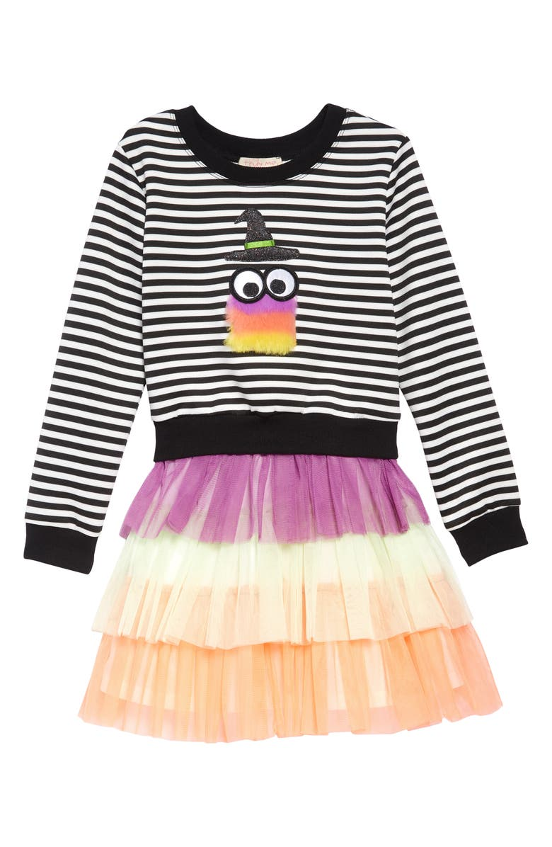 TRULY ME Fuzzy Monster Sweatshirt & Tulle Dress, Main, color, 001