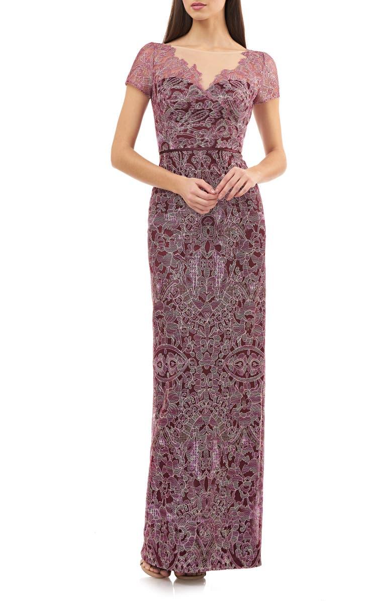 JS COLLECTIONS Illusion Neck Lace Column Gown, Main, color, CABERNET ROSE
