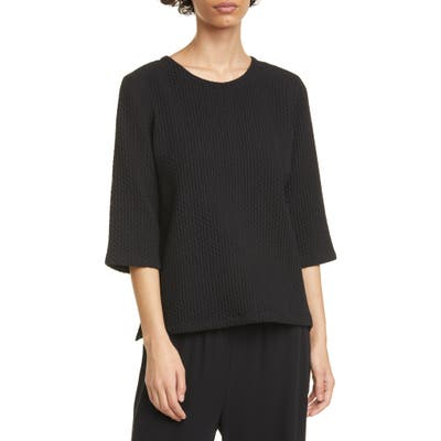 Eileen Fisher Jacquard Stretch Cotton Blend Boxy Top, Black