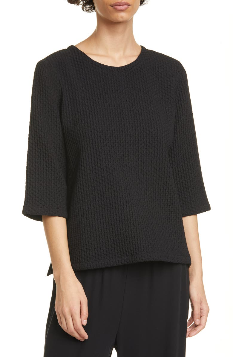 EILEEN FISHER Jacquard Stretch Cotton Blend Boxy Top, Main, color, 001