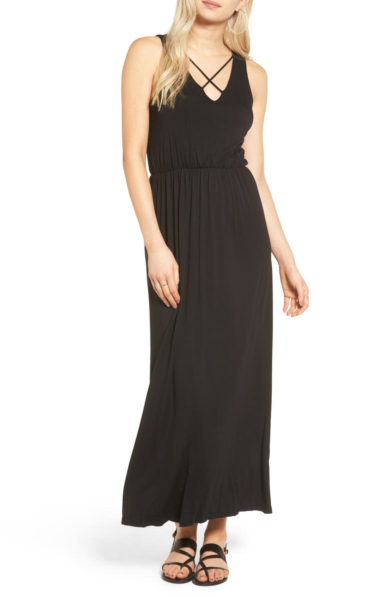 --- Cross Front Maxi Dress, Main, color, 001