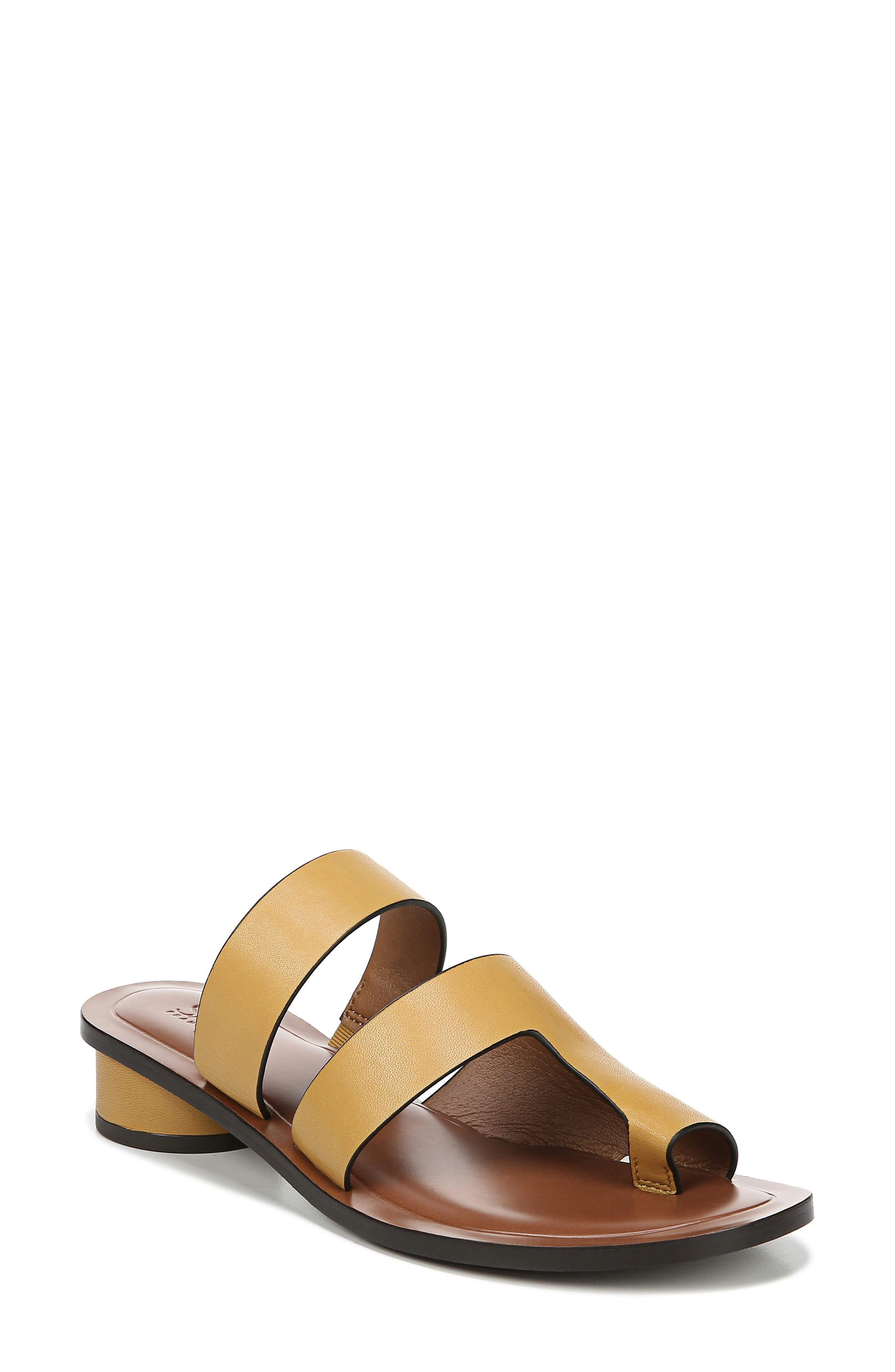 Trixie Slide Sandal, Main, color, YELLOW LEATHER