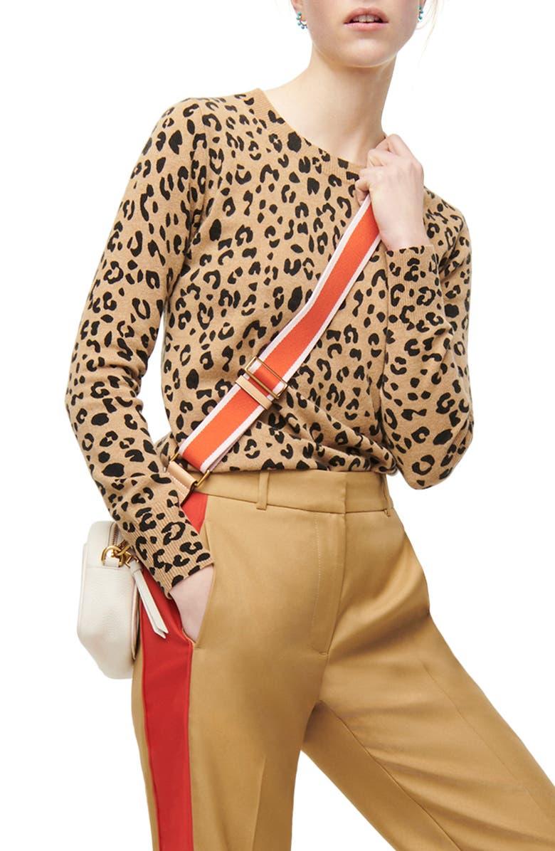 J.CREW Leopard Cashmere Crewneck Sweater, Main, color, HEATHER CAMEL MOD LEOPARD