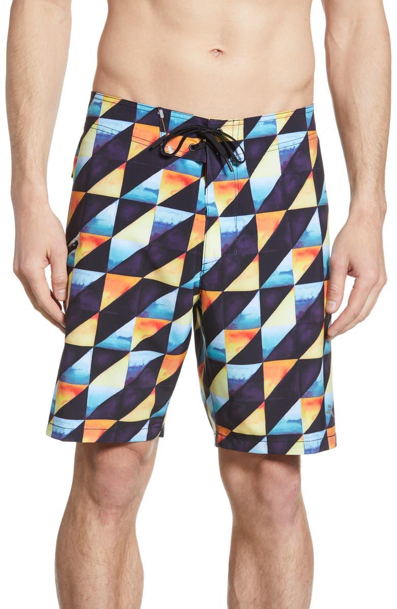 TOMMY BAHAMA North Shore Dusk to Dawn Board Shorts, Main, color, BLACK