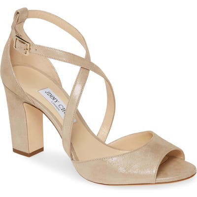 Jimmy Choo Carrie Metallic Peep Toe Pump, Beige (Nordstrom Exclusive)