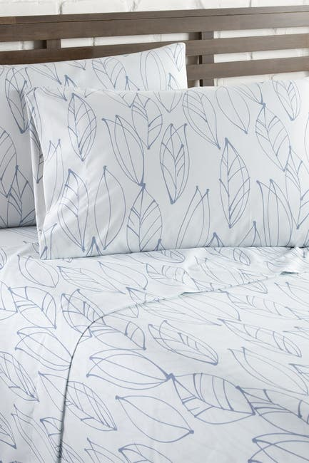 Image of SOUTHSHORE FINE LINENS Queen Sized Premium Collection - Ultra-Soft Modern Printed Sheet Sets - Modern Foliage White/Blue