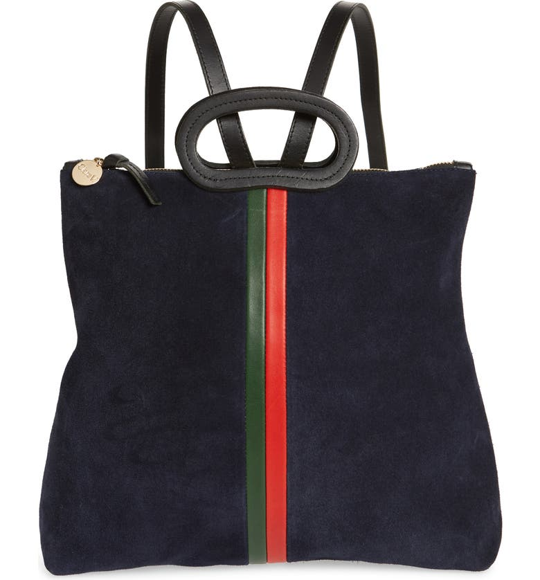 CLARE V. Marcelle Leather Tote Backpack, Main, color, NAVY/ EVERGREEN STRIPES