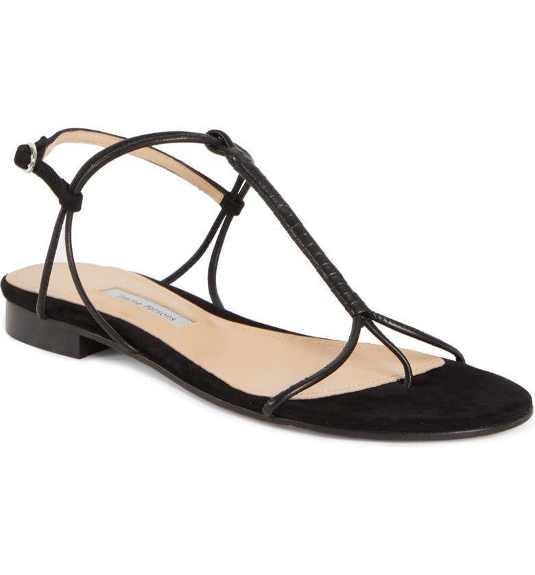EMME PARSONS Liv T-Strap Flat Sandal, Main, color, BLACK