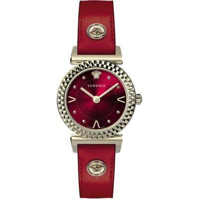 Versace Mini Vanity Leather Strap Watch, 27Mm