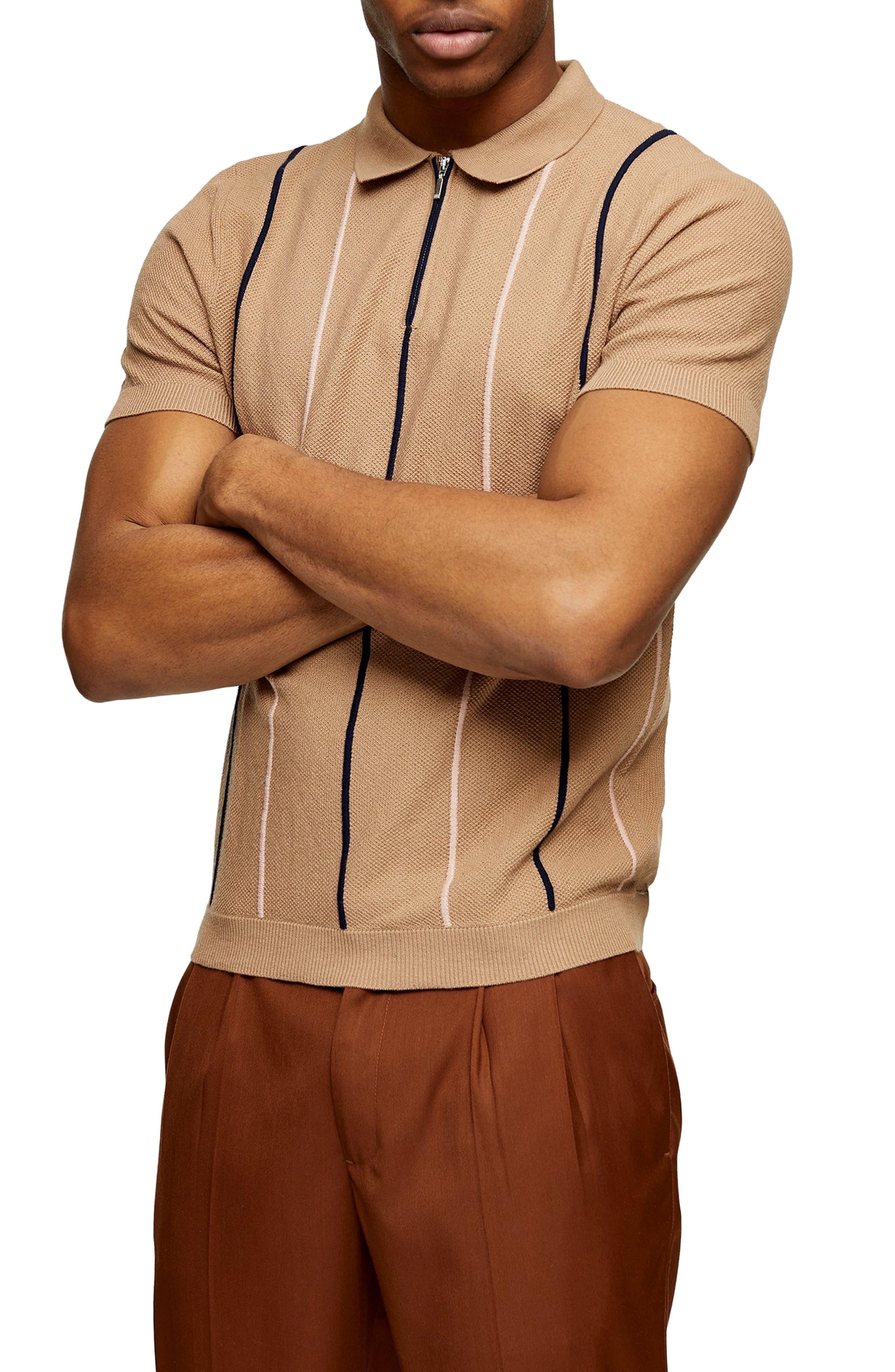 1960s Men's Clothing Mens Topman Stripe Pique Zip Polo Size XX-Large - Brown $50.00 AT vintagedancer.com