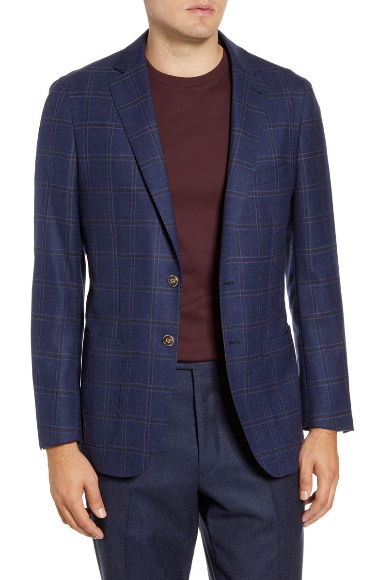 PETER MILLAR Classic Windowpane Stretch Wool Jacket, Main, color, 469