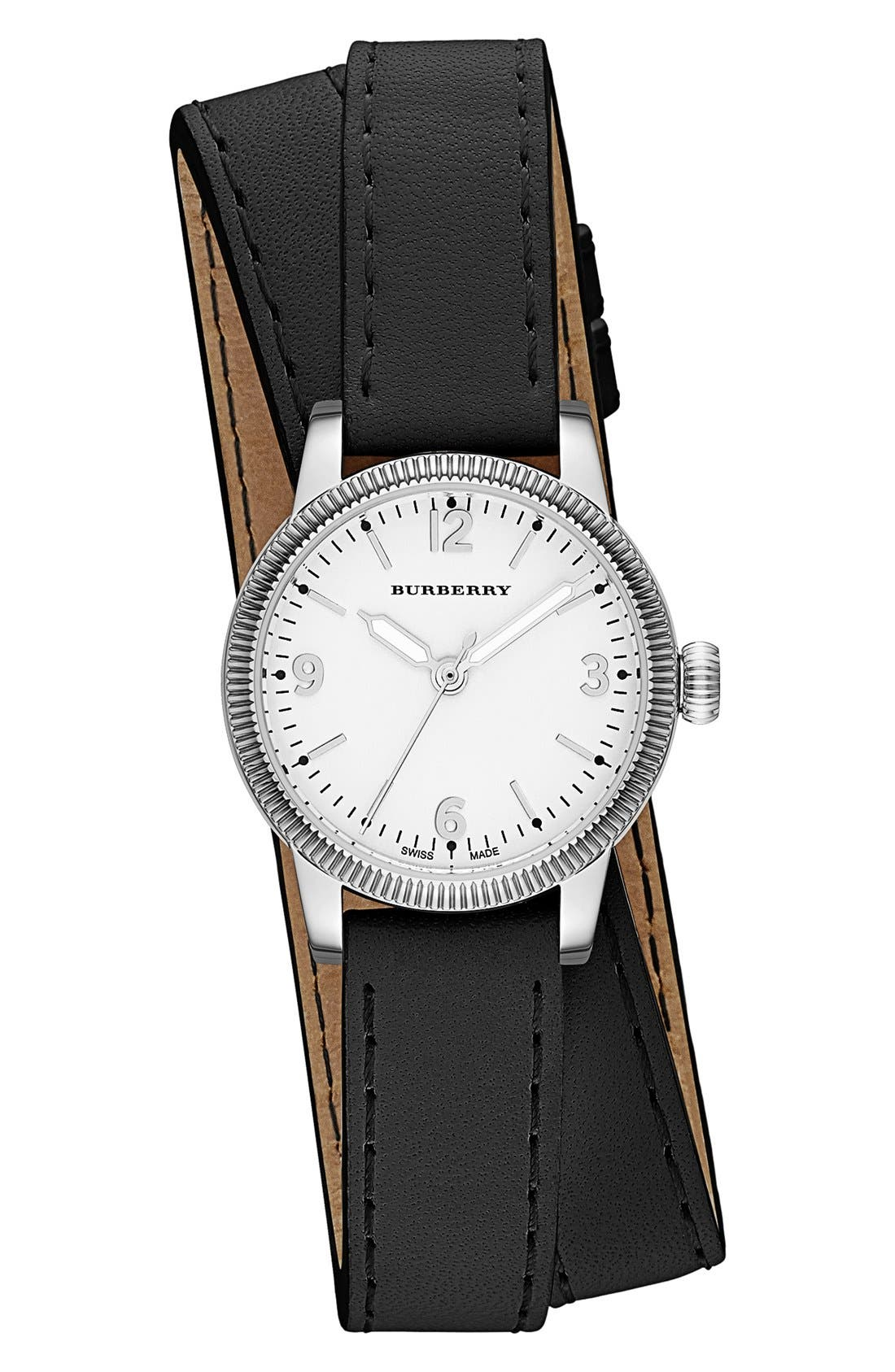'Utilitarian' Round Leather Wrap Watch, 30mm, Main, color, 001