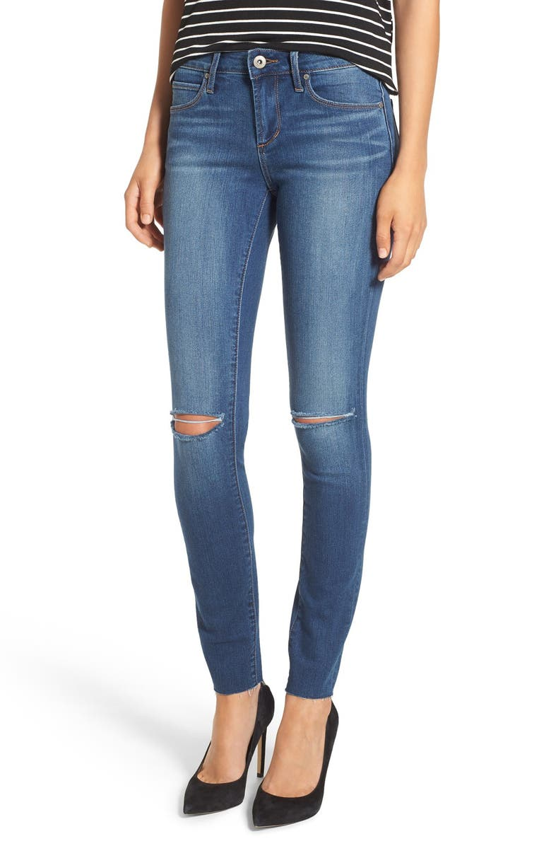 ARTICLES OF SOCIETY 'Sarah' Distressed Raw Hem Skinny Jeans, Main, color, 400