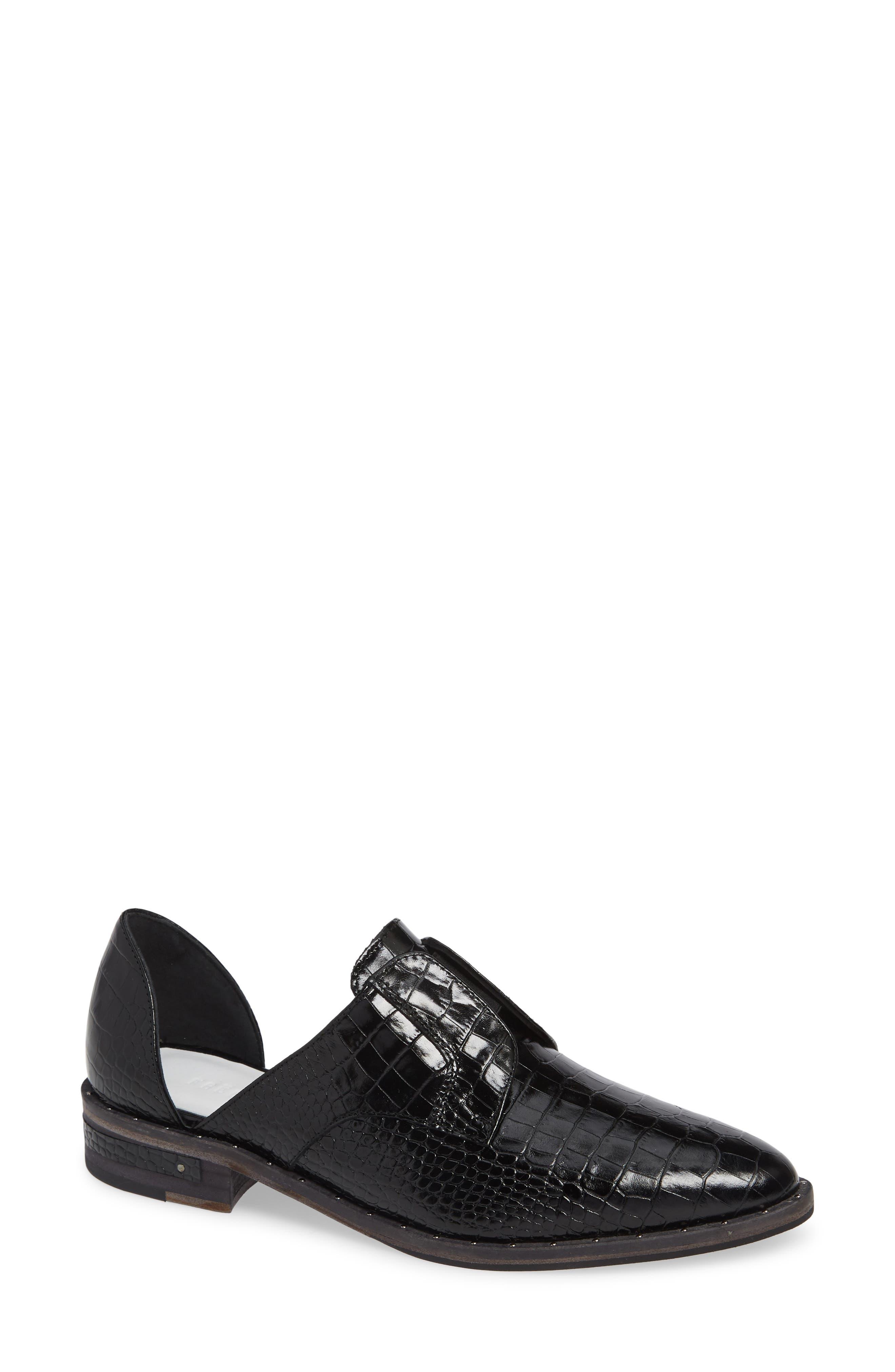 Wear d'Orsay Laceless Derby, Main, color, BLACK CROC
