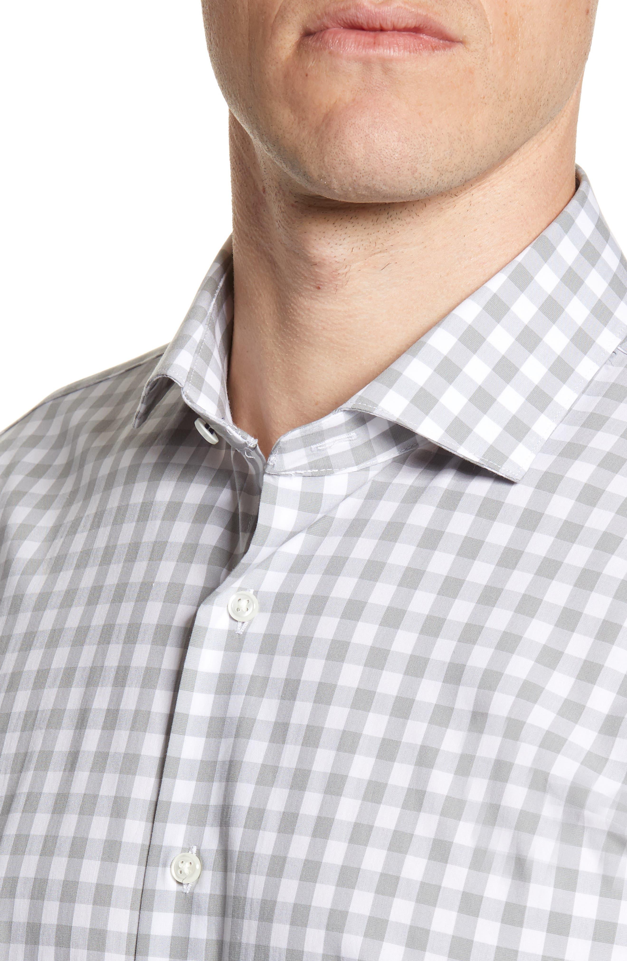 ,                             Tech-Smart Trim Fit Stretch Check Dress Shirt,                             Alternate thumbnail 8, color,                             050