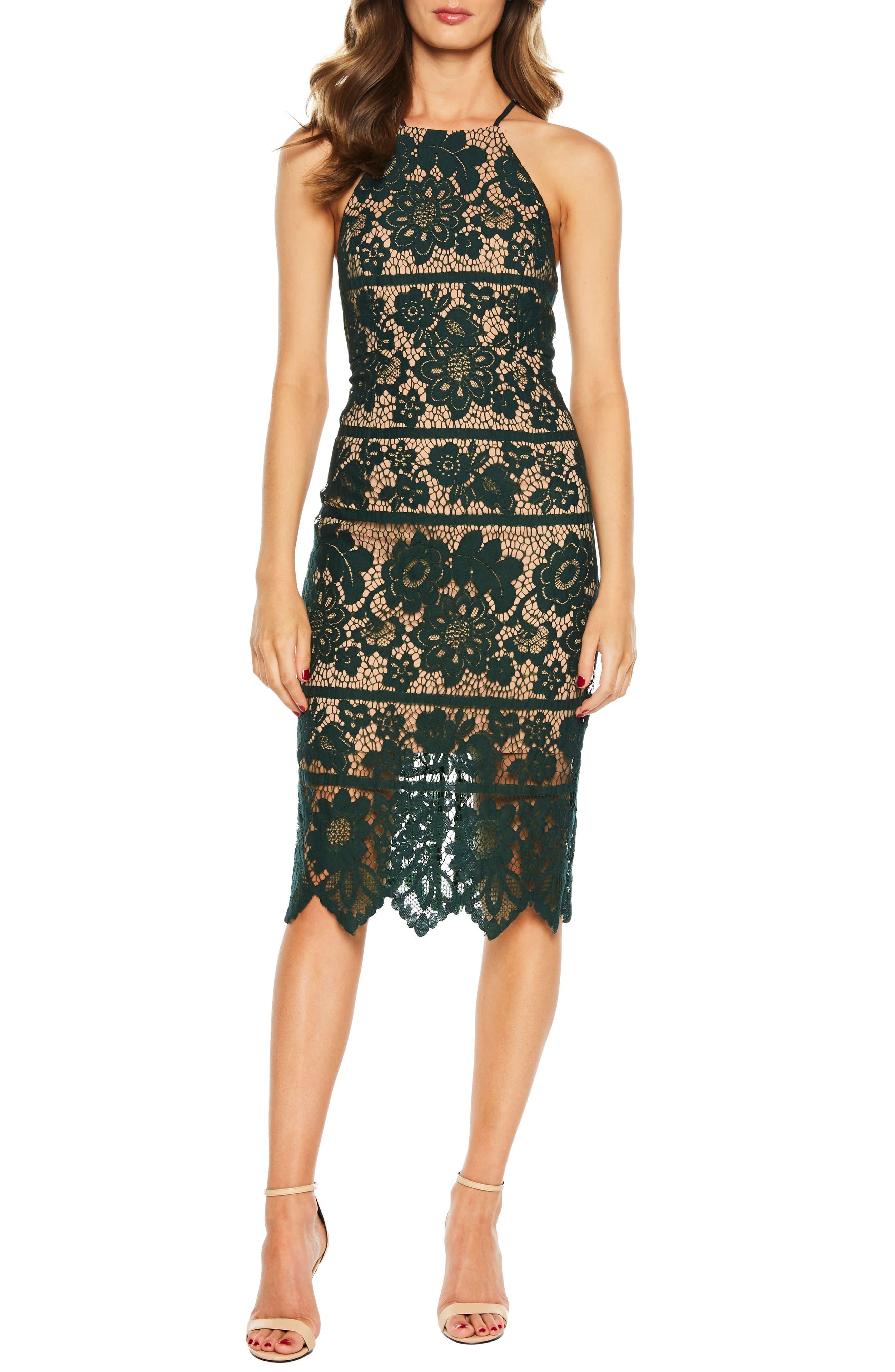 Bardot Mila Halter Lace Dress, Green