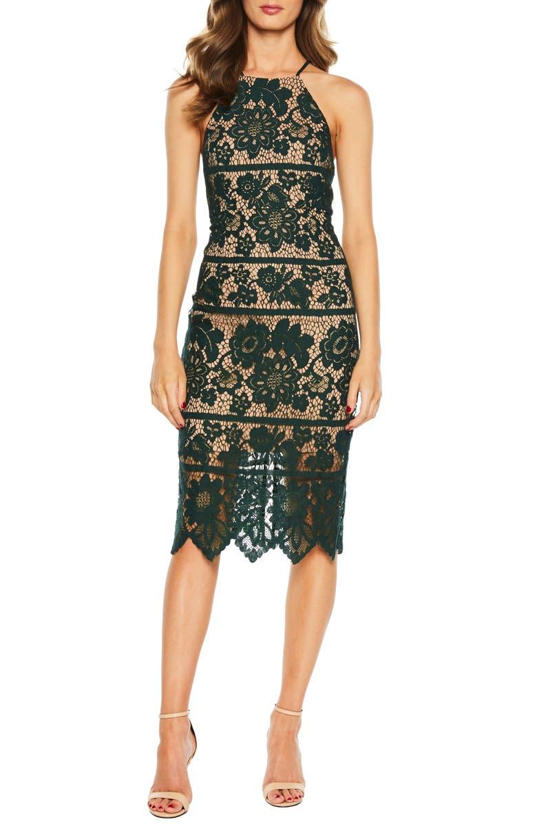Mila Halter Lace Dress