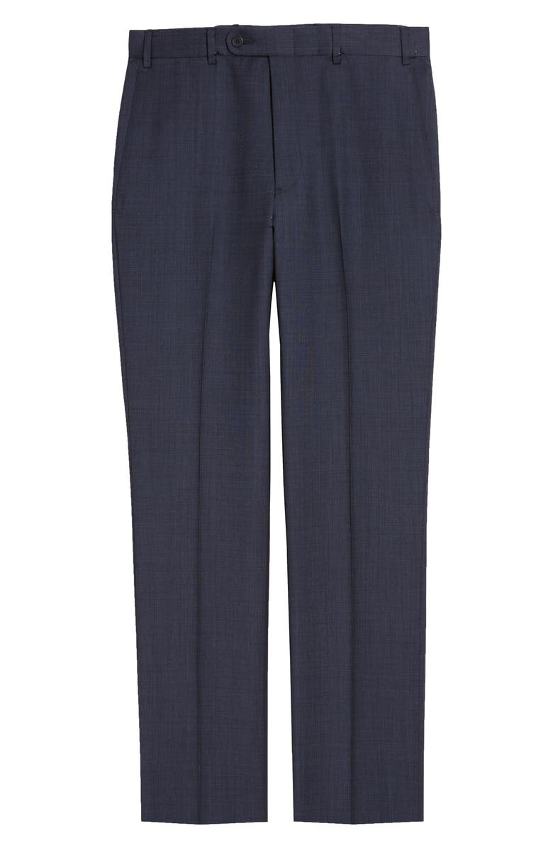 JOHN W. NORDSTROM<SUP>®</SUP> Torino Flat Front Solid Wool Trousers, Main, color, NAVY BLAZER TEXTURE