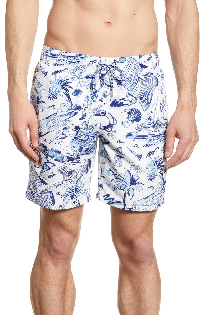 BUGATCHI Beach Print Swim Trunks, Main, color, WHITE