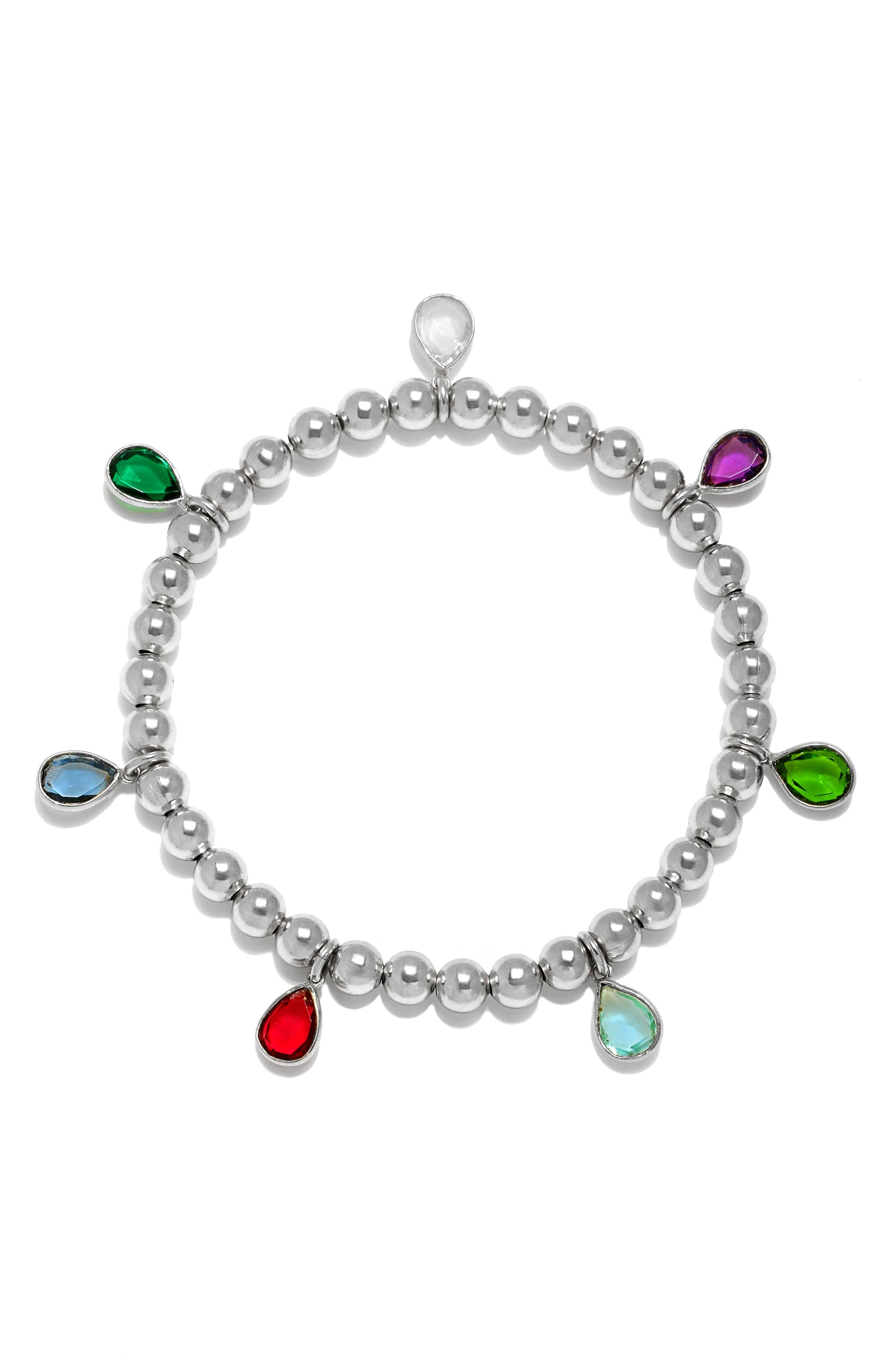 Amelia Rose Quartz Teardrop Beaded Stretch Bracelet in Multi Color - Silver at Nordstrom