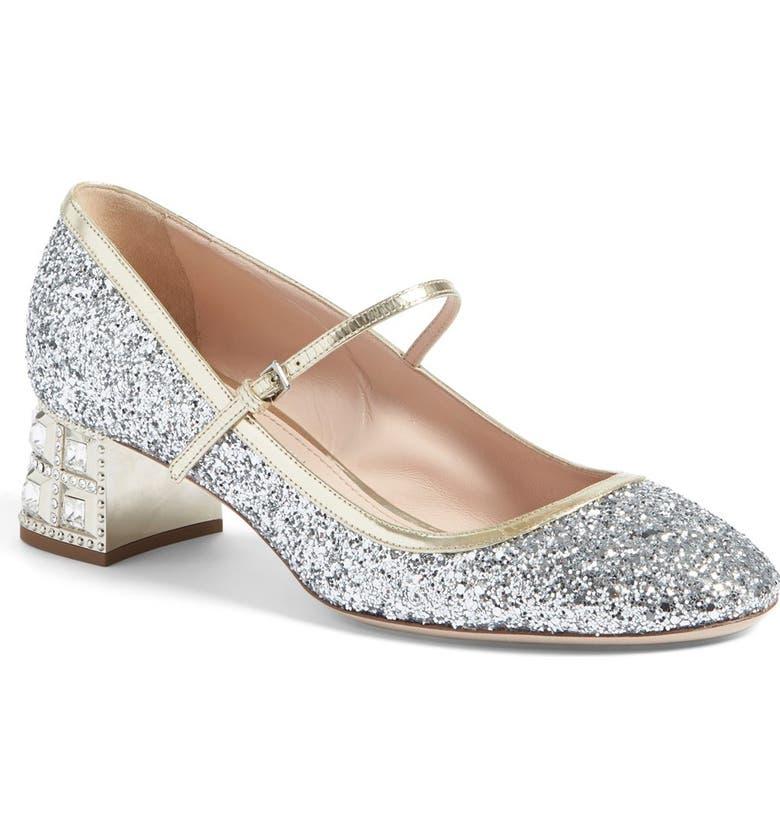 9c5d61c5396 Miu Miu Glitter Mary Jane Pump (Women) | Nordstrom