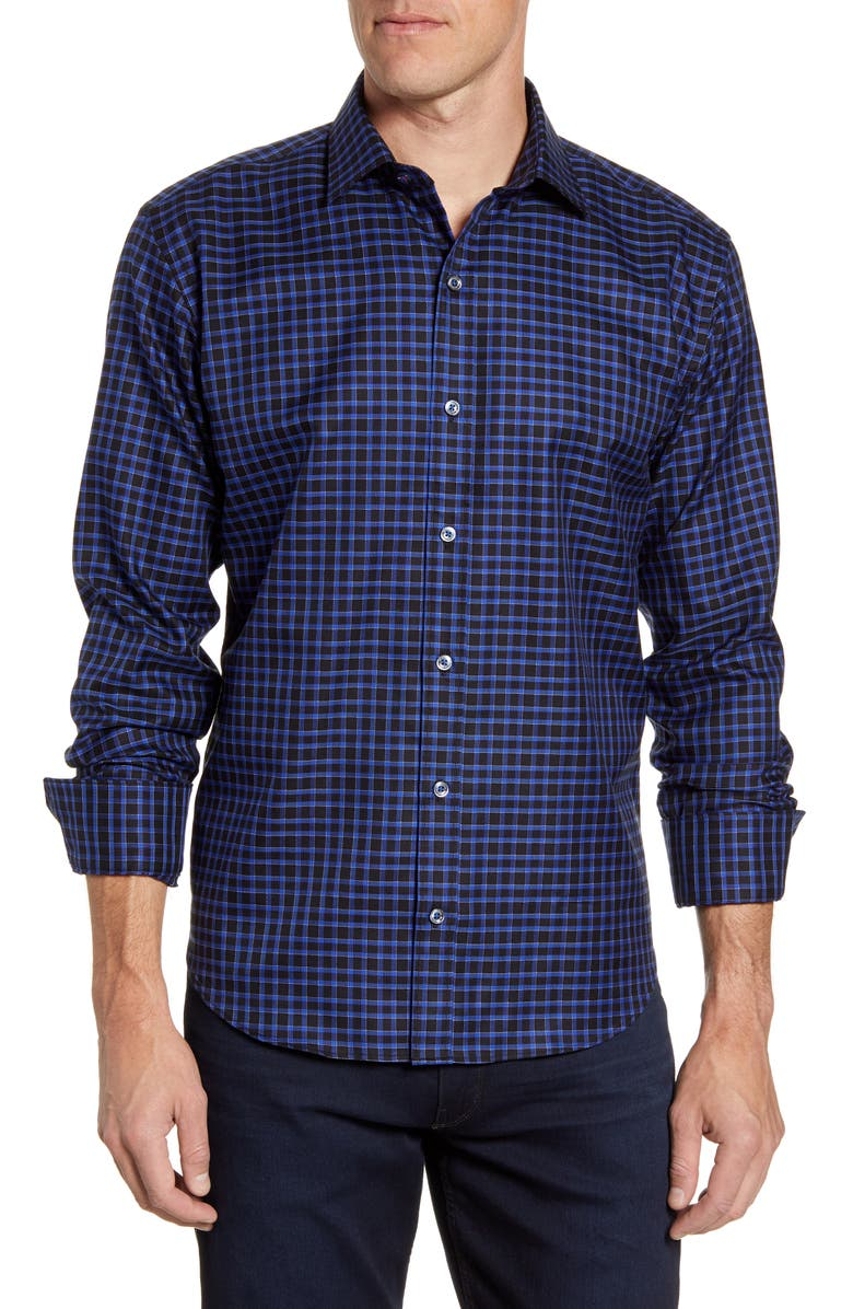 BUGATCHI Shaped Fit Check Button-Up Sport Shirt, Main, color, MIDNIGHT