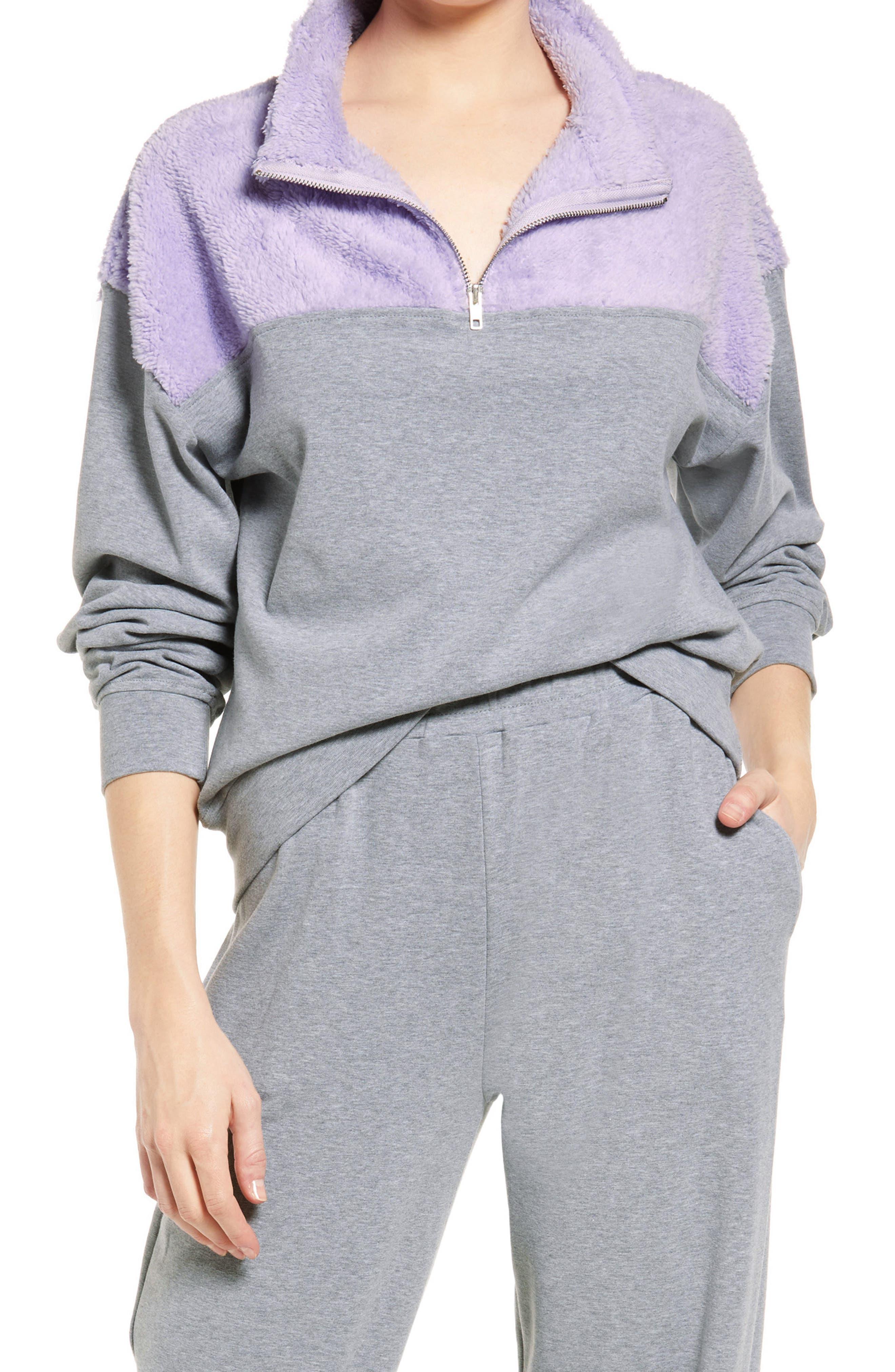 Women's Kendall + Kylie Quarter Zip Faux Fur Pullover
