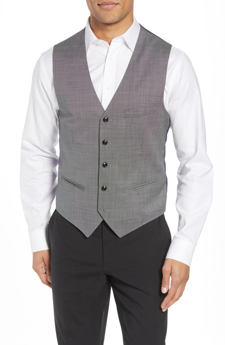 TED BAKER LONDON Troy Slim Fit Solid Wool Vest, Main, color, 050