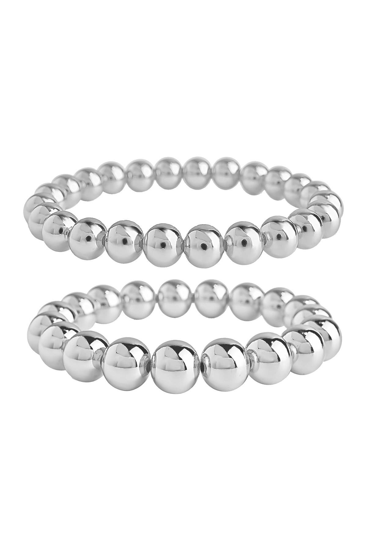 Image of Sterling Forever Rhodium Plated Beaded Expandable Bracelet Set