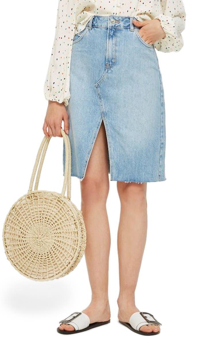 TOPSHOP Denim Midi Skirt, Main, color, 420