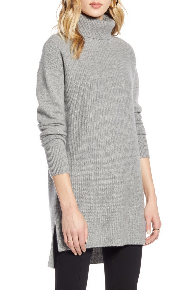 HALOGEN<SUP>®</SUP> High/Low Tunic Turtleneck Cashmere Sweater, Main, color, GREY HEATHER