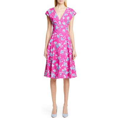 Carolina Herrera Leaf Print Stretch Cotton Dress, Pink